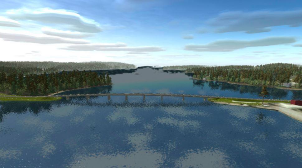 Drönarbild av bro och hav